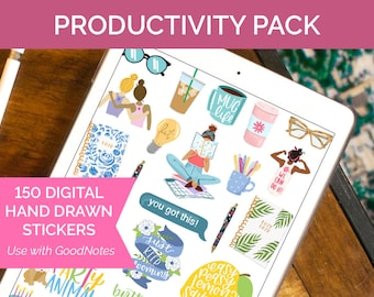 """150 Digital Planner Stickers for Goodnotes - PRODUCTIVITY PACK - for iPad or 8.5"""" x 11"""" Printing by bloom daily planners"""