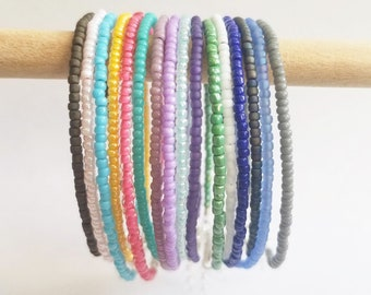 tiny Rainbow Seed Bead Bracelets Colors- Beads beaded hippie gift stack pride simple stacking chic dainty multi-color