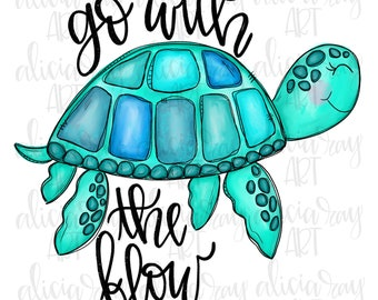 Illustration Go With The Flow Beach Sea Turtle Sticker Art Ocean Vinyl Decal