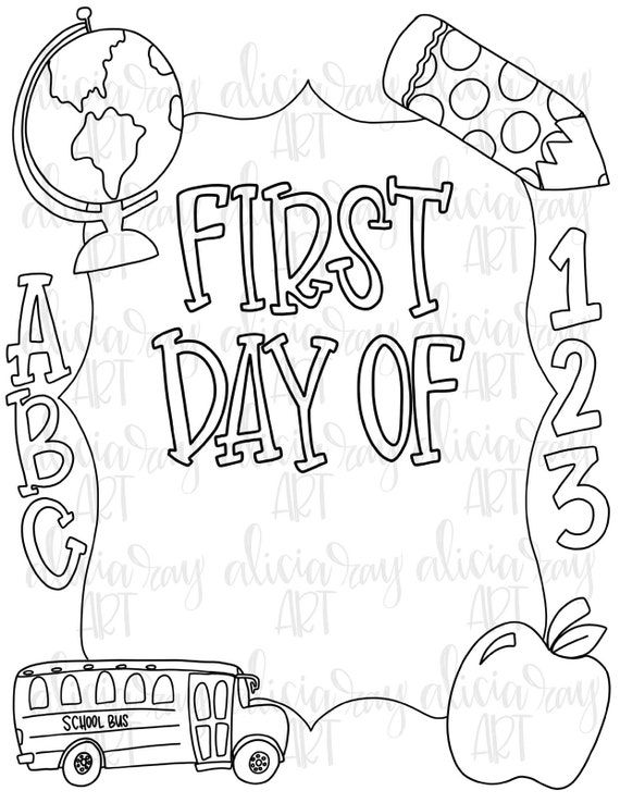 - School Coloring Page PDF Download First Day Of School Sign Etsy