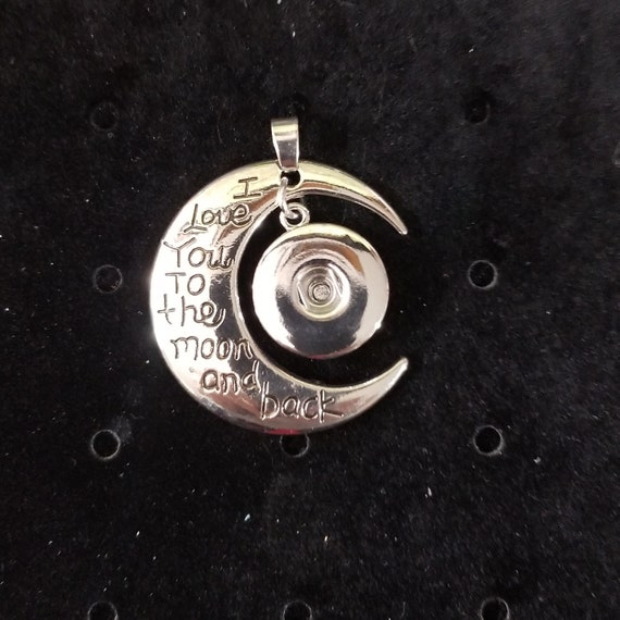 """$@Snap Chunk Button /""""I Love You To The Moon/"""" Charm For Ginger Snap Style Jewelry"""