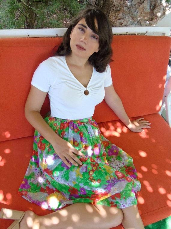 Vintage '80s midi pleated chiffon floral skirt, ha
