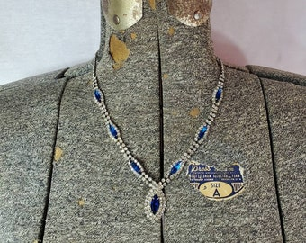 crystal choker Faux sapphire choker vintage gold choker blue choker gold plate necklace gifts for women vintage jewelry gift