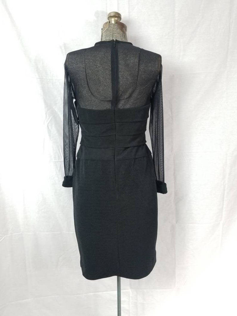 Vintage 80s Night Way Collections Black Body Con Mini Dress  Sheer Sleeves and Bodice  Silver and Rhinestone Buttons on Cuffs 10