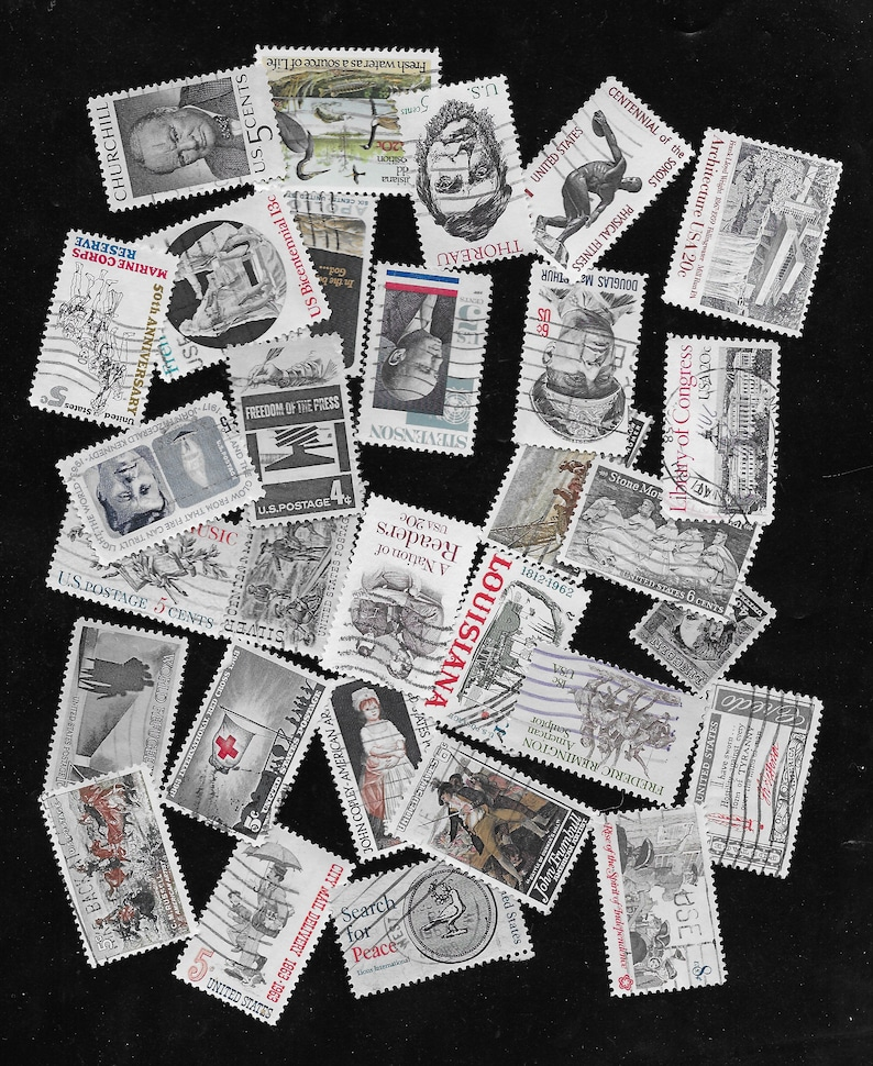 off paper Used US Stamps 30 Shades of Gray
