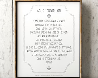 graphic about Act of Contrition Prayer Printable referred to as Act contrition print Etsy