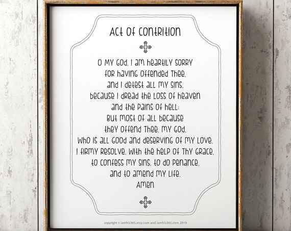 Act of Contrition Prayer Print - Catholic Prayer Printable, Christian Print, Catechism, PDF Download
