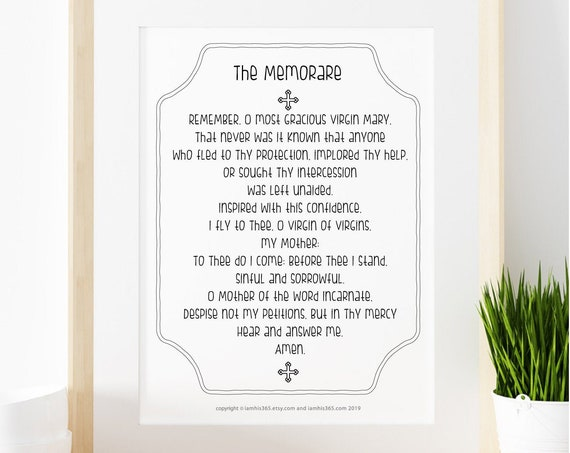 Memorare Prayer Print - Catholic Prayer Printable, Christian Print, Catechism Prayer Print, Catholic Art,  PDF Download