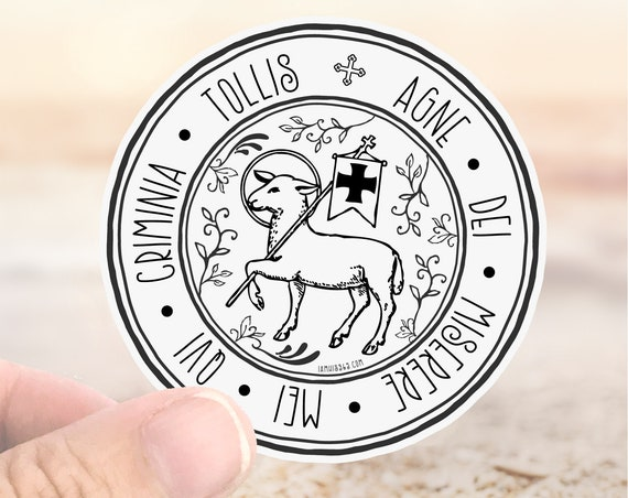 Agnus Dei Catholic Sticker Decal - Faith Sticker - Laptop Decal - Water Bottle Sticker