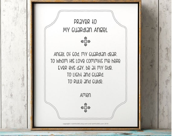 My Guardian Angel Prayer Print - Catholic Prayer Printable Christian Print PDF Download