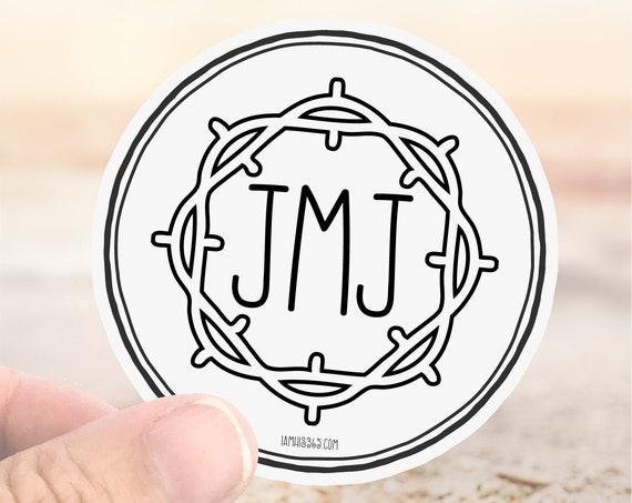 JMJ Catholic Sticker Decal - Faith Sticker - Laptop Decal - Water Bottle Sticker - Jesus Mary Joseph