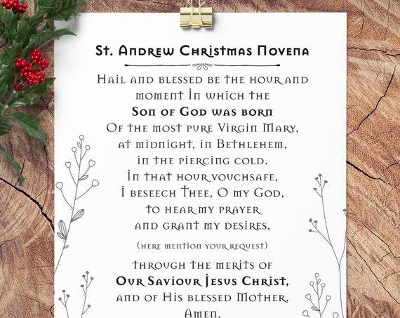 St Andrew Novena Advent Print - Quote Wall Print, Advent, Catholic wall art, Christmas Decor Print Catholic Saint PDF Download