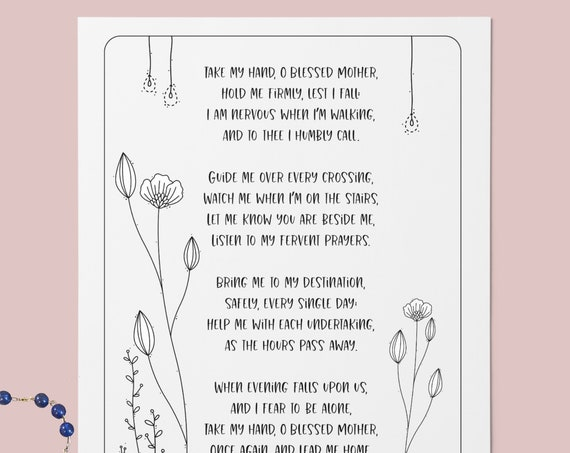 Take My Hand, O Blessed Mother - Printable Catholic Prayer , Catholic Art, Catholic Poem, Blessed Mother