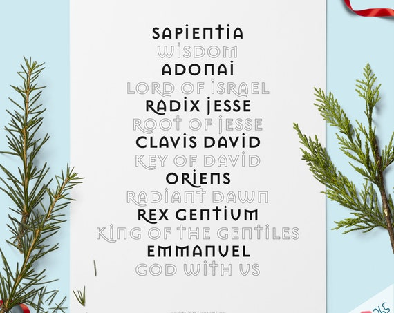 O Antiphons Christian Advent Print - Quote Wall Print, Advent, Christian wall art, Christmas Decor Print O Antiphons PDF Download