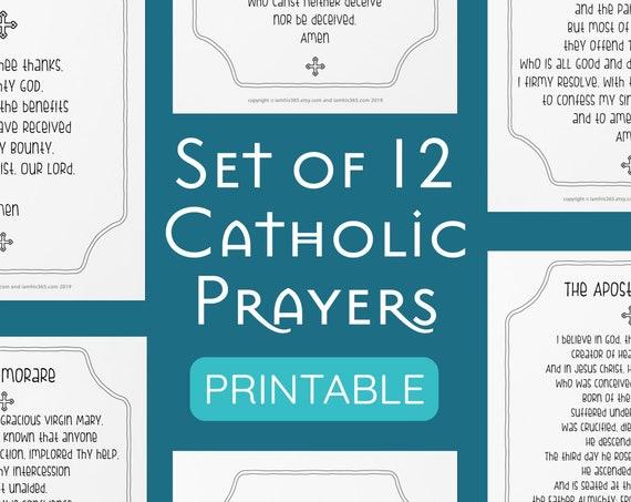 Catholic Prayer Print Set of 12 - Catholic Prayer Printable, Christian Print, Catechism, PDF Download, Our Father, Hail Mary, Memorare