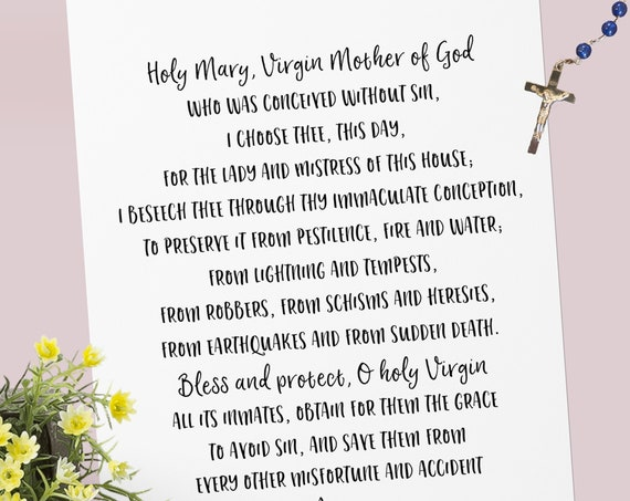 Holy Mary Mistress of the Home Prayer - Catholic Protection Prayer Printable Christian Print Lent PDF Download
