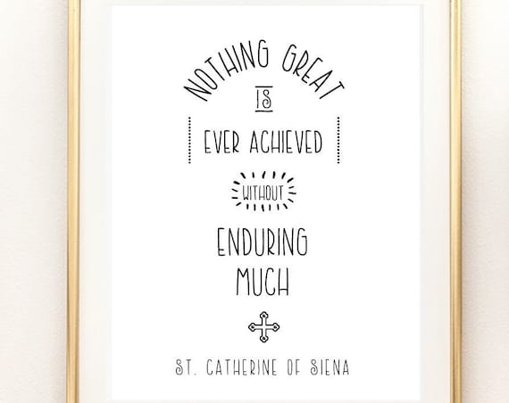 St. Catherine of Siena Catholic Saint Art Print - 11x14 Catholic Printable, Catholic Saint Quote, PDF Download, Homeschool, Holy Art