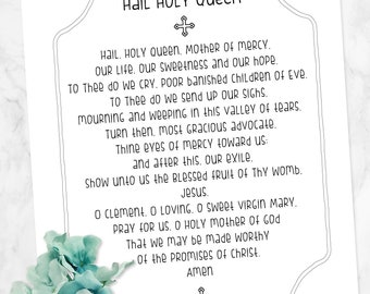 image regarding Hail Holy Queen Prayer Printable identify Hail holy queen Etsy