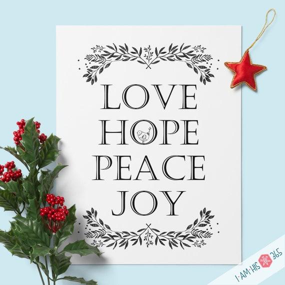 Love Hope Peace Joy Advent Print - Quote Wall Print, Advent, Christian wall art, Christmas Decor Print PDF Download
