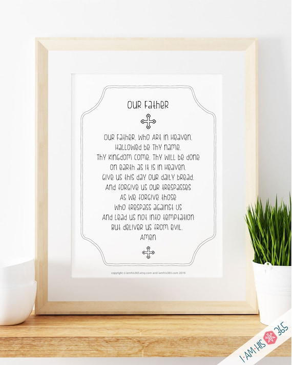Our Father Prayer Print - Catholic Prayer Printable, Christian Print, Lords Prayer, Catechism, First Communion,  PDF Download