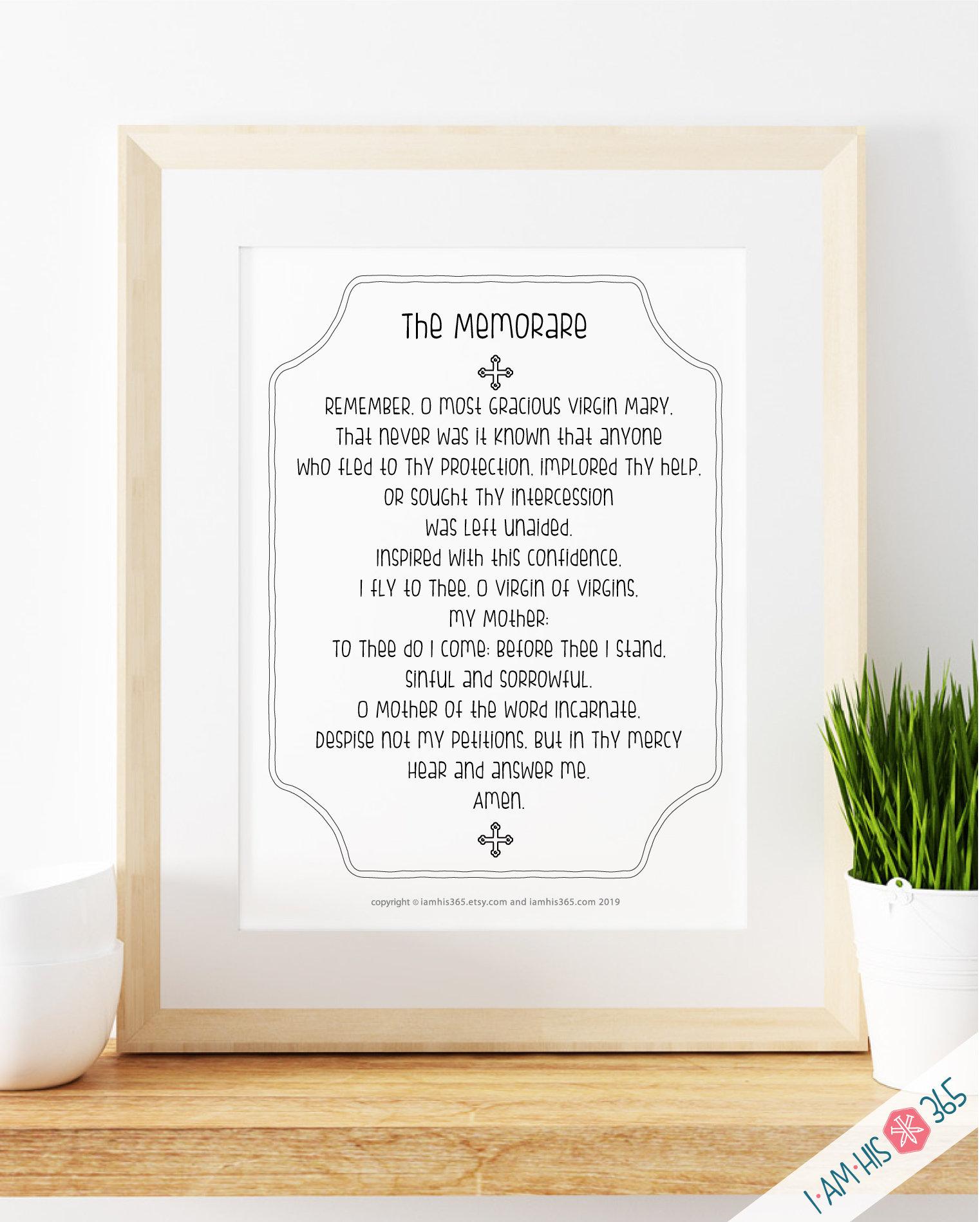 photo relating to Memorare Prayer Printable identify Memorare Prayer Print - Catholic Prayer Printable Christian