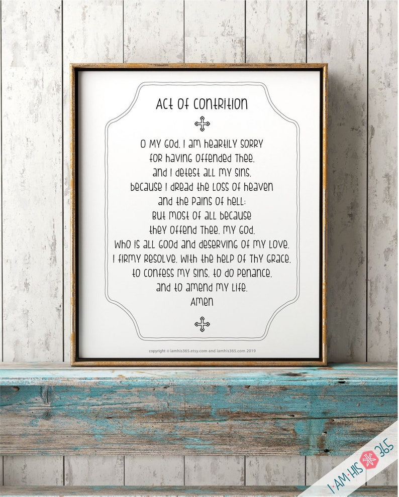 photo about Act of Contrition Prayer Printable titled Act of Contrition Prayer Print - Catholic Prayer Printable Christian Print Lent PDF Obtain
