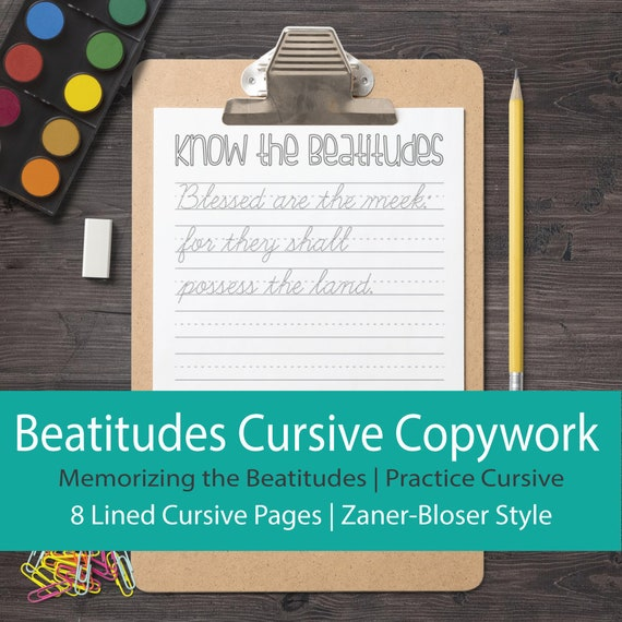 The Beatitudes Cursive Worksheets for Memorizing Scripture, Practicing Handwriting | Catholic Education | Douay Rheims Bible Verses
