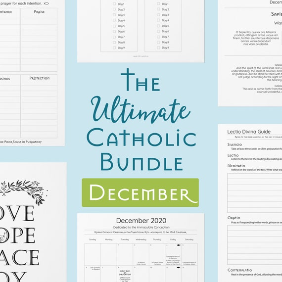 Ultimate Catholic Bundle - Printables for December - Traditional Catholic Planner Pages, Prayers, Scripture Guides, Coloring Pages, Journals