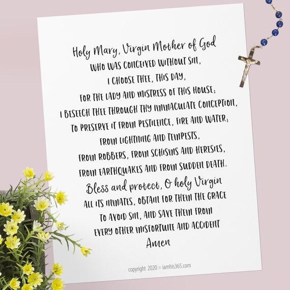 Holy Mary Mistress of the Home Prayer - Catholic Protection Prayer Printable Christian Print Lent PDF Download