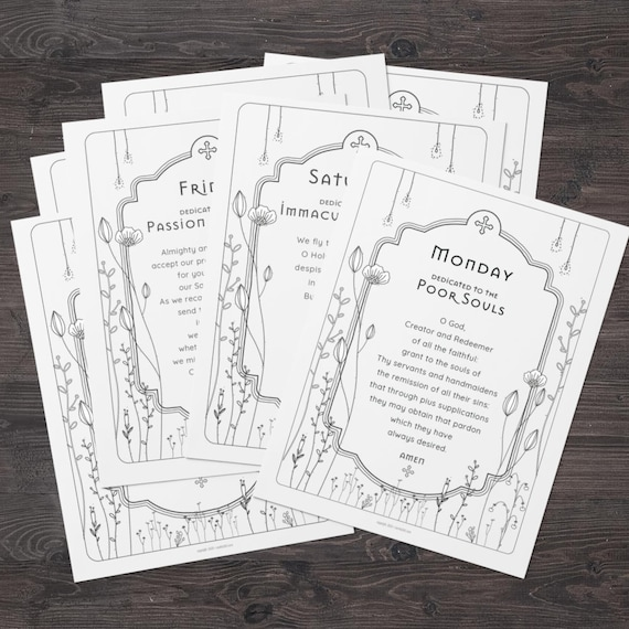 Daily Catholic Prayer Print Set of 7 - Catholic Prayer Printable, Christian Print, Catechism, PDF Download
