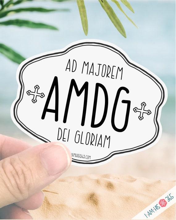 AMDG Decal - Catholic Saint Sticker Decal - St. Ignatius Of Loyola - Laptop Decal Sticker - Water Bottle Sticker - Ad Majorem Dei Gloriam