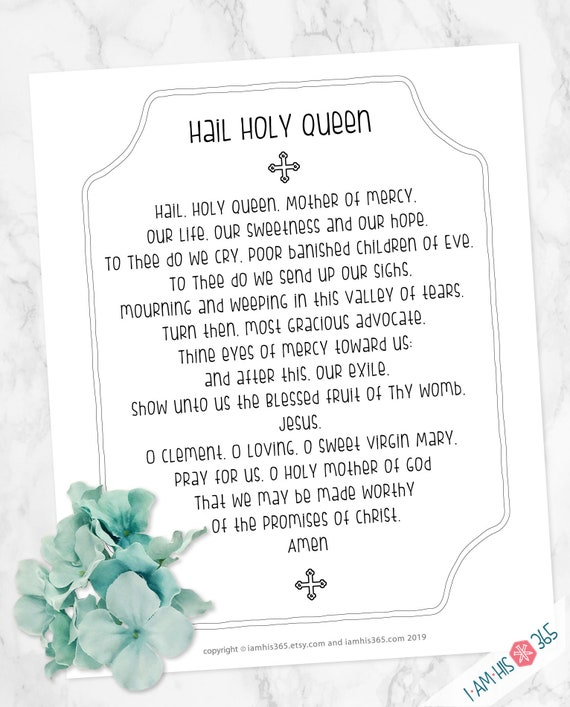 Hail Holy Queen Prayer Print - Catholic Prayer Printable Christian Print Lent PDF Download