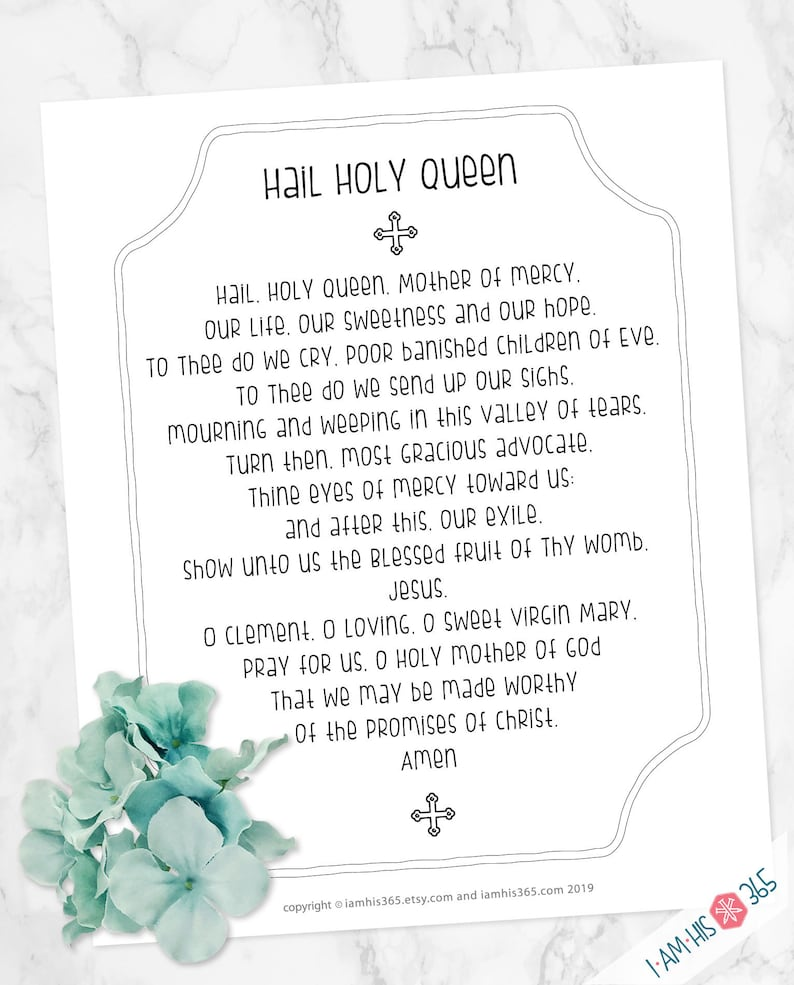 image regarding Printable Catholic Prayers referred to as Hail Holy Queen Prayer Print - Catholic Prayer Printable Christian Print Lent PDF Down load