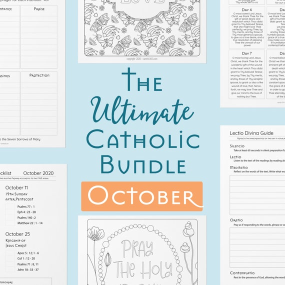 Ultimate Catholic Bundle - Printables for October - Traditional Catholic Planner Pages, Prayers, Scripture Guides, Coloring Pages, Journals