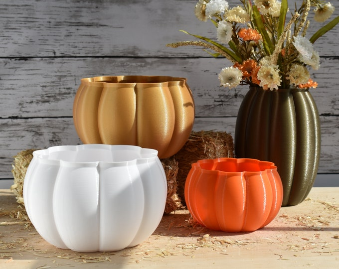 Featured listing image: Pumpkin Planters   4 Sizes   Autumn Colors   Indoor or Outdoor