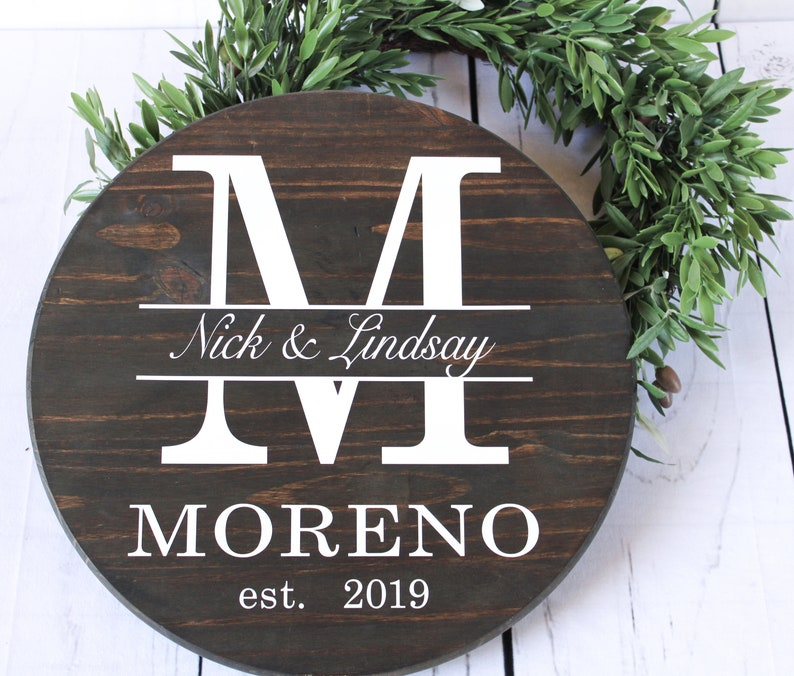 personalized wedding gift last name signs