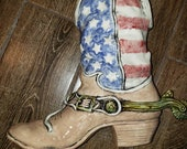American flag boot vase or planter made of clay