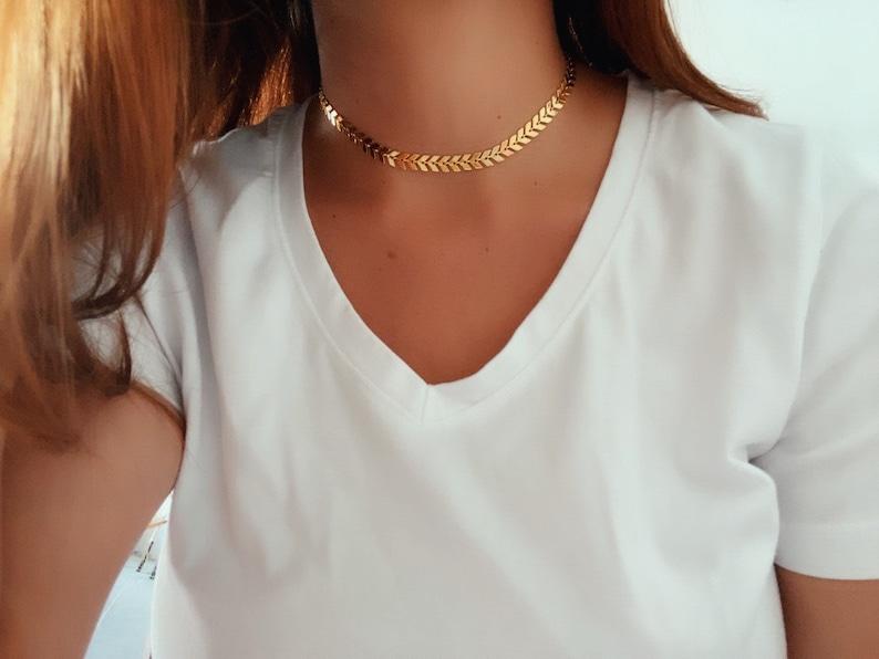 geometric choker fishbone choker Arrow necklace dainty choker necklace chevron choker