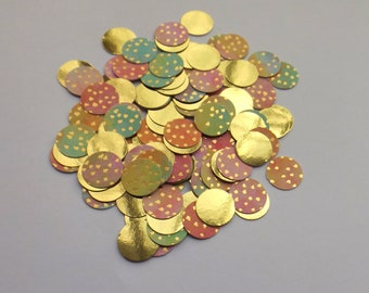 Table Scatter Double-Sided Color Paper Circles Rainbow Party Decorations Circle Die Cuts Gold Foil Circles 100pc Party Confetti