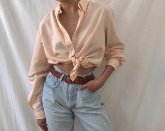 332bab7790ac70 vintage classic oversized cotton pastel orange blouse shirt