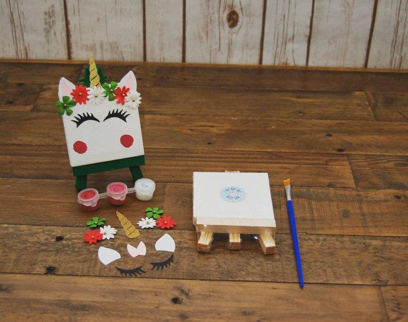 Christmas Unicorn DIY Canvas Craft Kit: Holiday Unicorn Party Favors Unicorn Craft Kit DIY Craft Kit Art and Crafts
