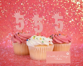 Fifth 5th Glitter Birthday Cupcake Toppers Set Of 12 Princess Tiara Girls Party Decor
