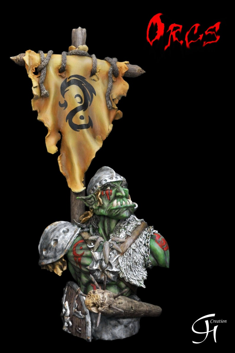 Sculpture of a resin bust of an ORC (heroic fantasy)