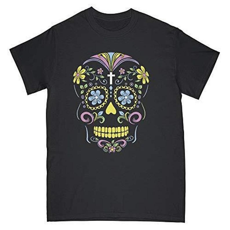 Sugar Skull T-Shirt Floral Day of The Dead Skull Shirts image 0