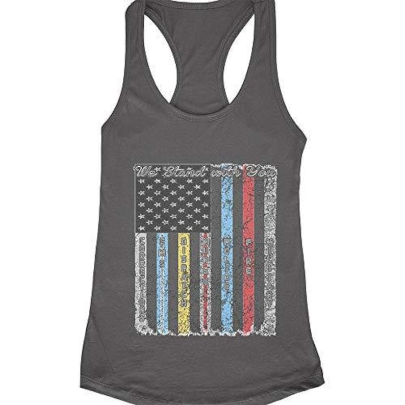 Women/'s Police,Firefighters,Military,We Stand with You,Women/'s Racerback Tank Top