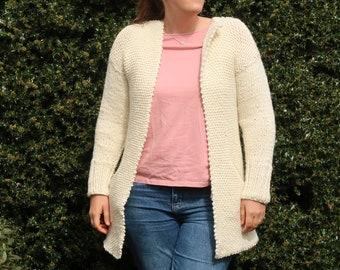 Biased Cardigan knitting pattern, chunky knit sweater cardigan pattern size XS to 5XL, sweater knitting pattern for women coat pattern, PDF