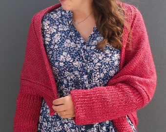 Knit shrug pattern, worsted yarn knit shawl pattern, knit poncho cocoon cardigan top pattern, shoulders cover-up shrug knitting pattern
