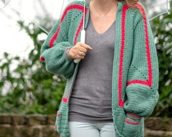 Mathilda's Easy Crochet Cardigan Pattern, cardigan crochet pattern for woman, bell sleeve sweater crochet pattern - S to 2XL