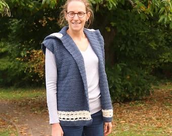Crochet vest pattern, hooded vest, simple women's crochet pattern, everyday classic, easy fall crochet pattern, modern hooded vest pattern
