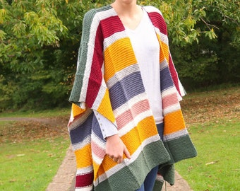Cozy knit poncho, easy poncho knitting pattern, one size knit poncho pattern, striped women's poncho, beginner pattern, wearable blanket PDF